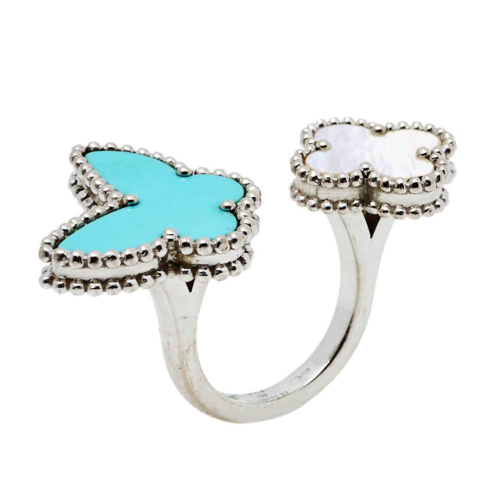 Van Cleef & Arpels Lucky Alhambra Turquoise Mother of Pearl 18k White Gold Between the Finger Ring Size 53