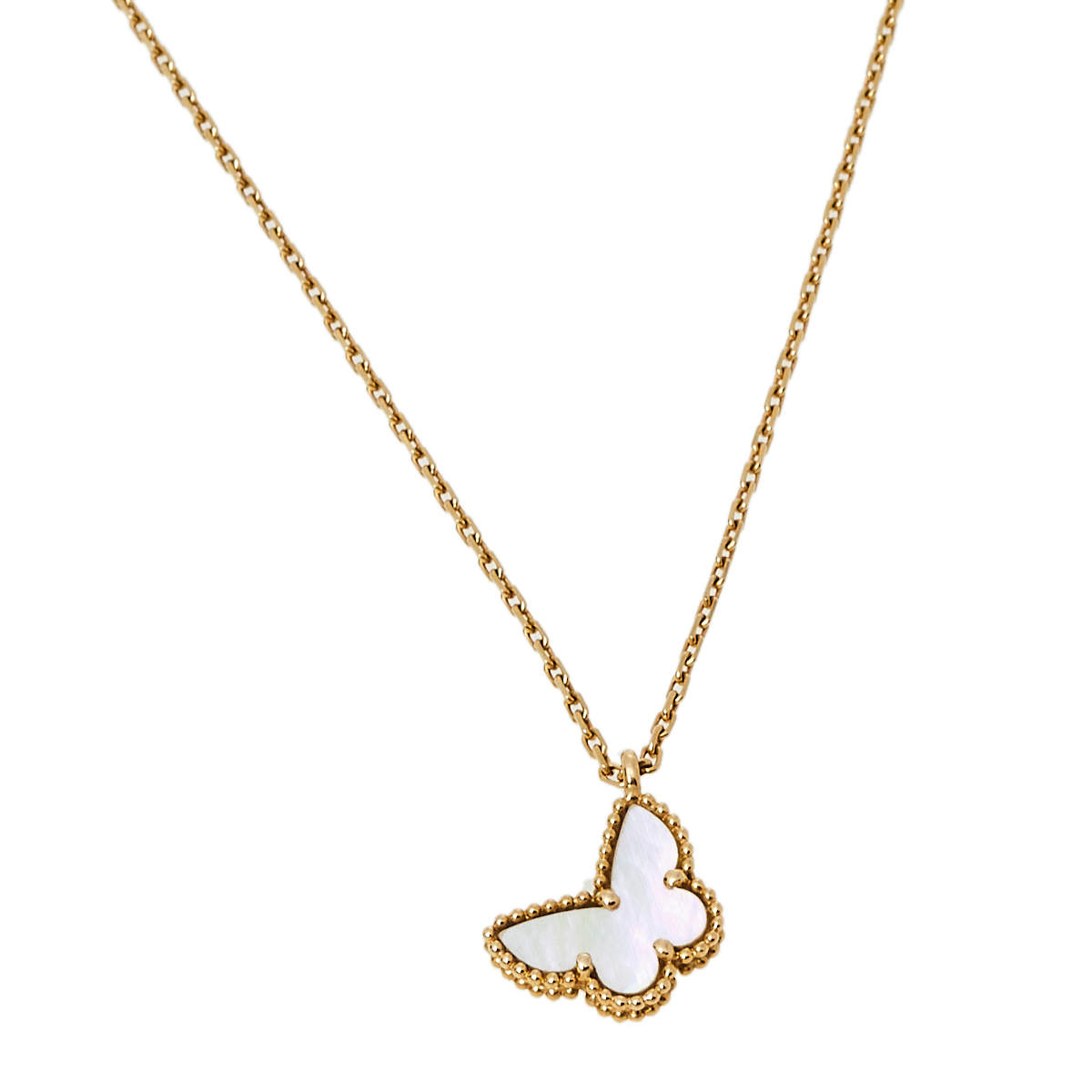 Van Cleef and Arpels Sweet Alhambra Butterfly Mother of Pearl & 18k Yellow Gold Pendant Necklace