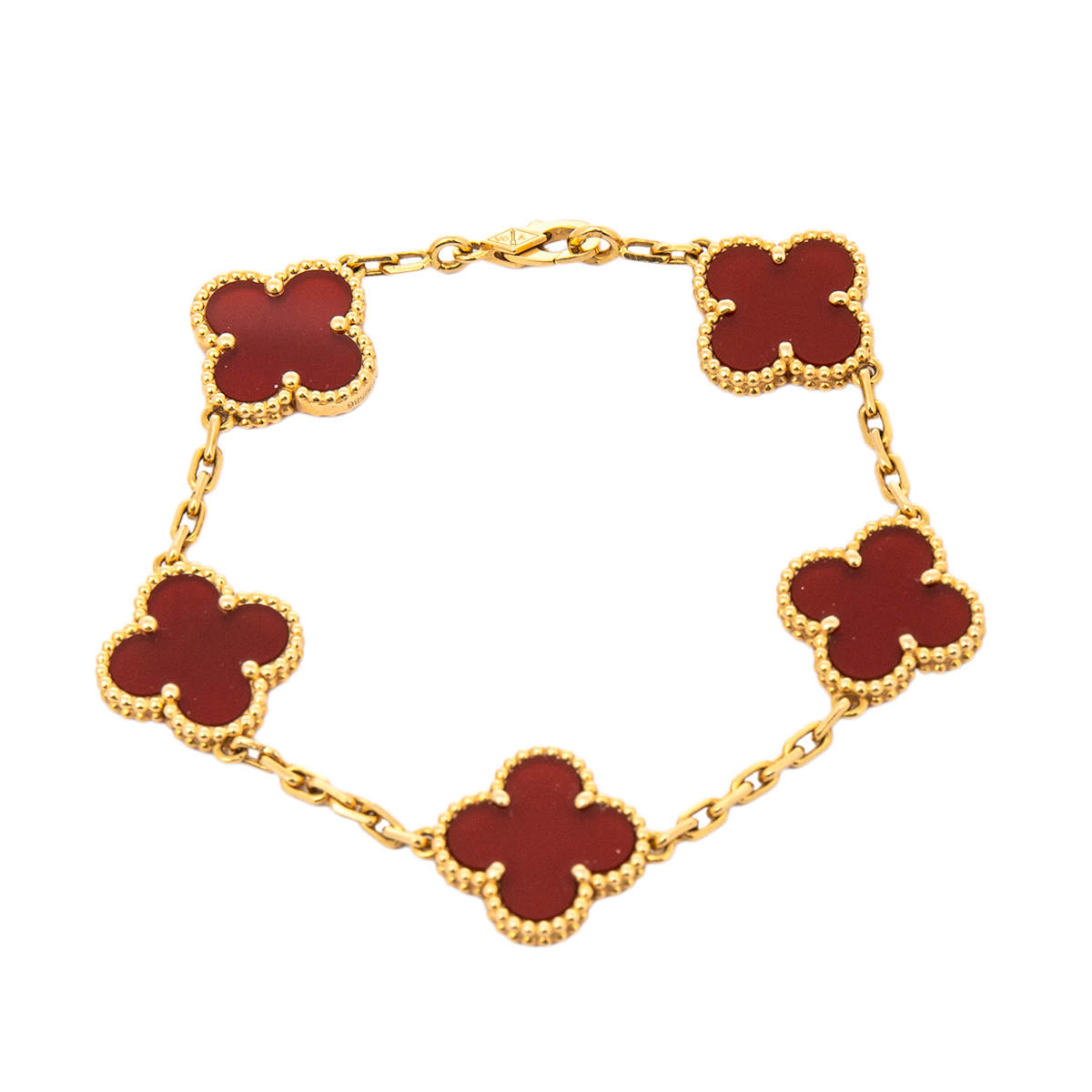 Van Cleef & Arpels Vintage Alhambra Carnelian 18K Yellow Gold Station Bracelet