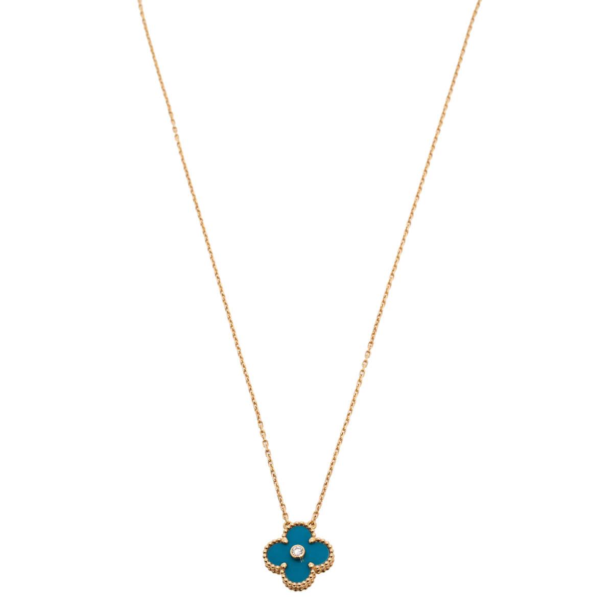 Van Cleef & Arpels Vintage Alhambra Blue Inlay Diamond 18K Yellow Gold Pendant Necklace