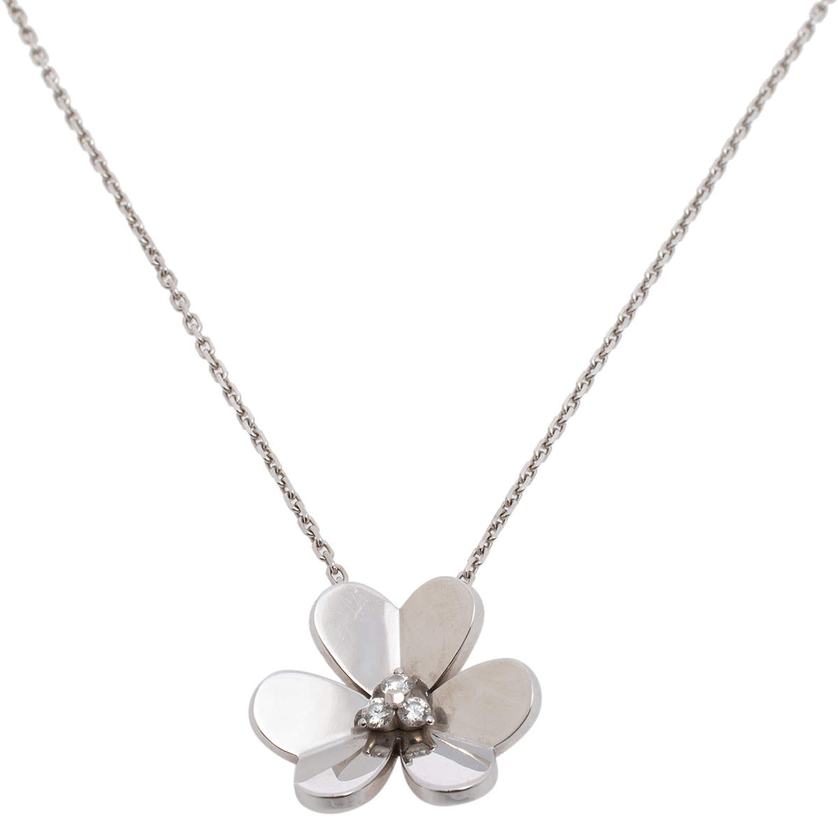Van Cleef & Arpels Frivole Diamond 18K White Gold Large Pendant Necklace