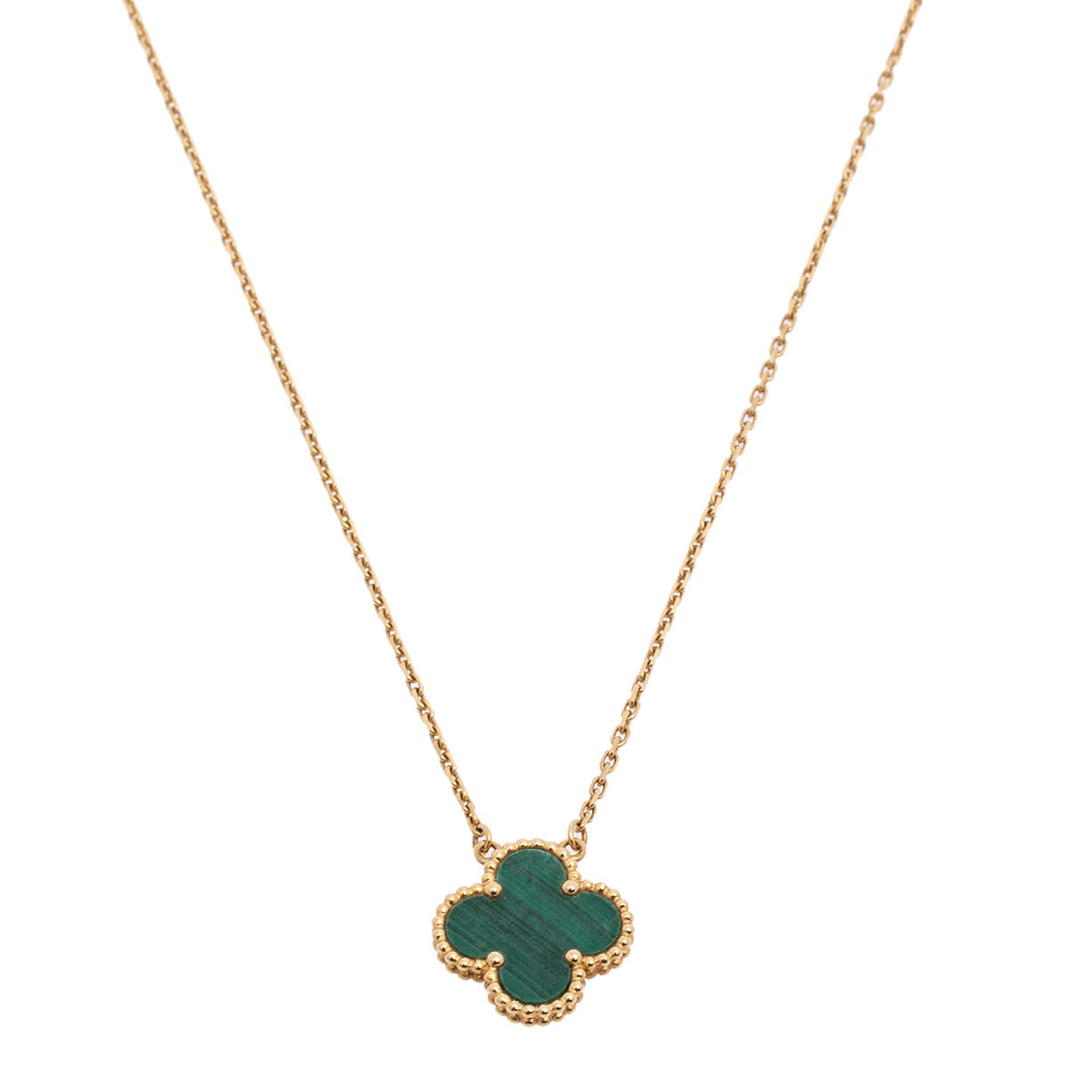Van Cleef & Arpels Vintage Alhambra 18K Yellow Gold Malachite Pendant Necklace