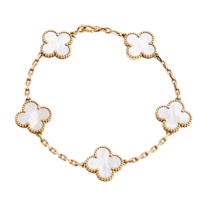Van Cleef & Arpels Vintage Alhambra 5 Motif Mother of Pearl 18K Yellow Gold Station Bracelet