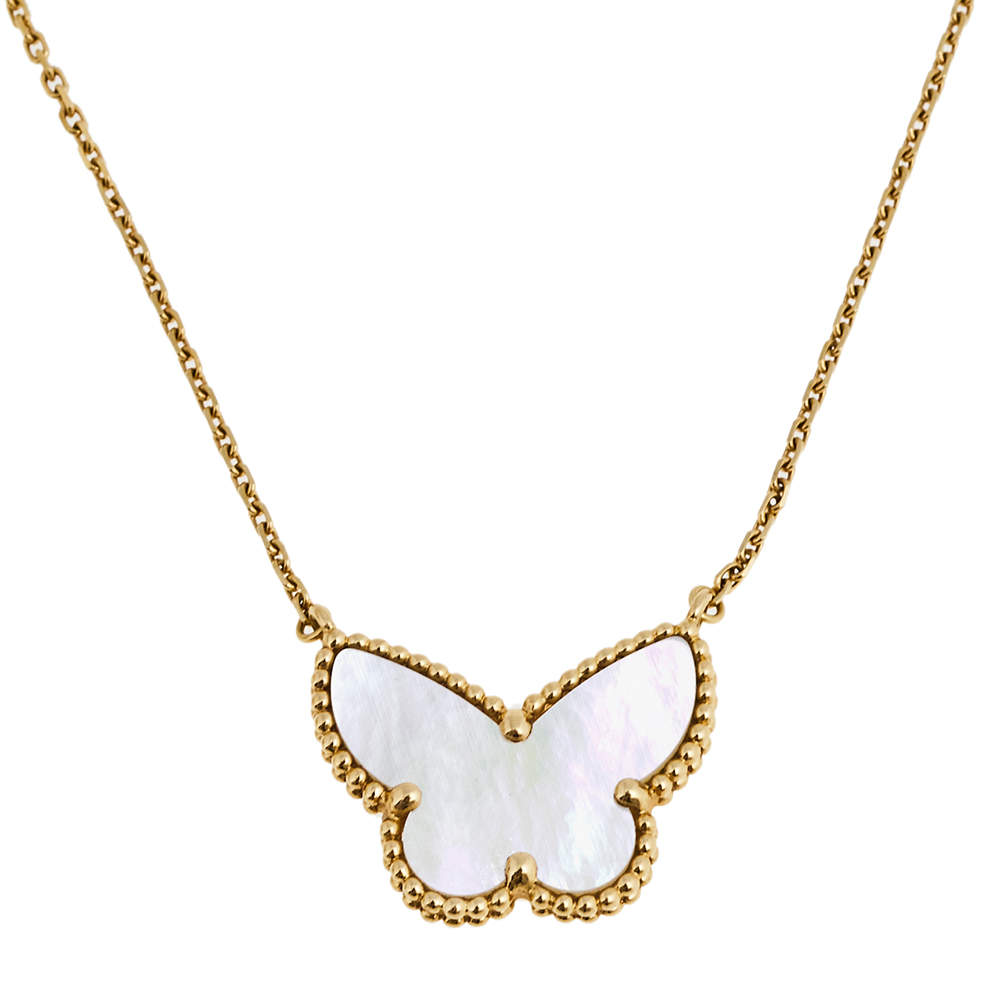Van Cleef and Arpels Lucky Alhambra Butterfly Mother of Pearl 18k Yellow Gold Pendant Necklace