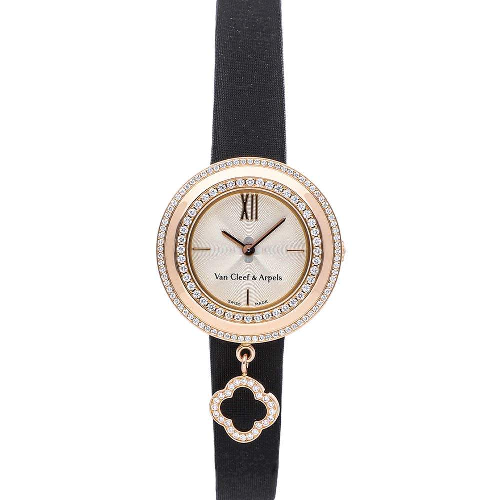 Van Cleef & Arpels MOP Diamonds 18K Rose Gold Charms Watch VCARO29800 Women's Wristwatch 25 MM
