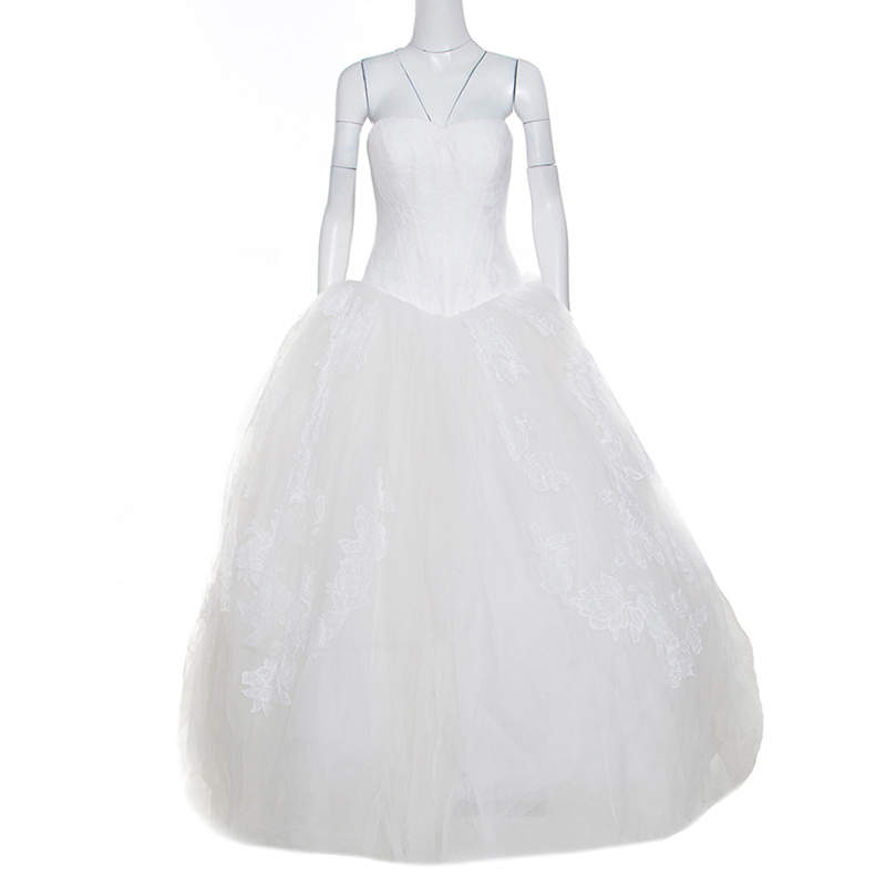Vera Wang Off White Lace and Tulle Strapless Wedding Gown L