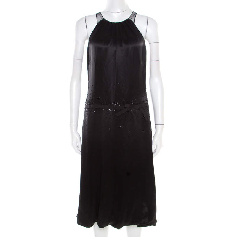 Vera Wang Black Embellished Satin Bod Detail Sleeveless Dress M