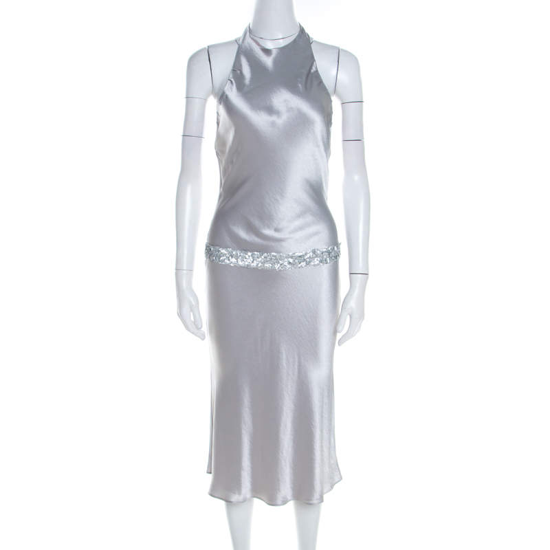Vera Wang Grey Satin Sequin Embellished Halter Tie Up Flared Dress S