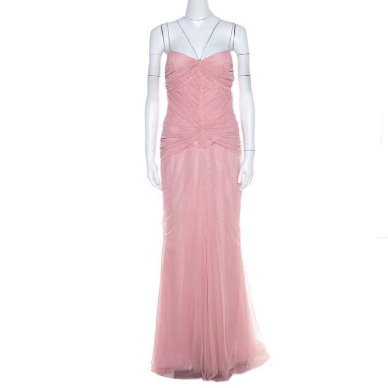 Vera Wang Blush Pink Ruched Tulle Sleeveless Evening Gown M