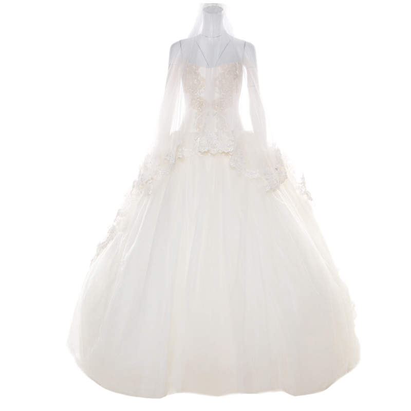 Vera Wang Cream Bead Embellished Silk Layered Tulle Gown L