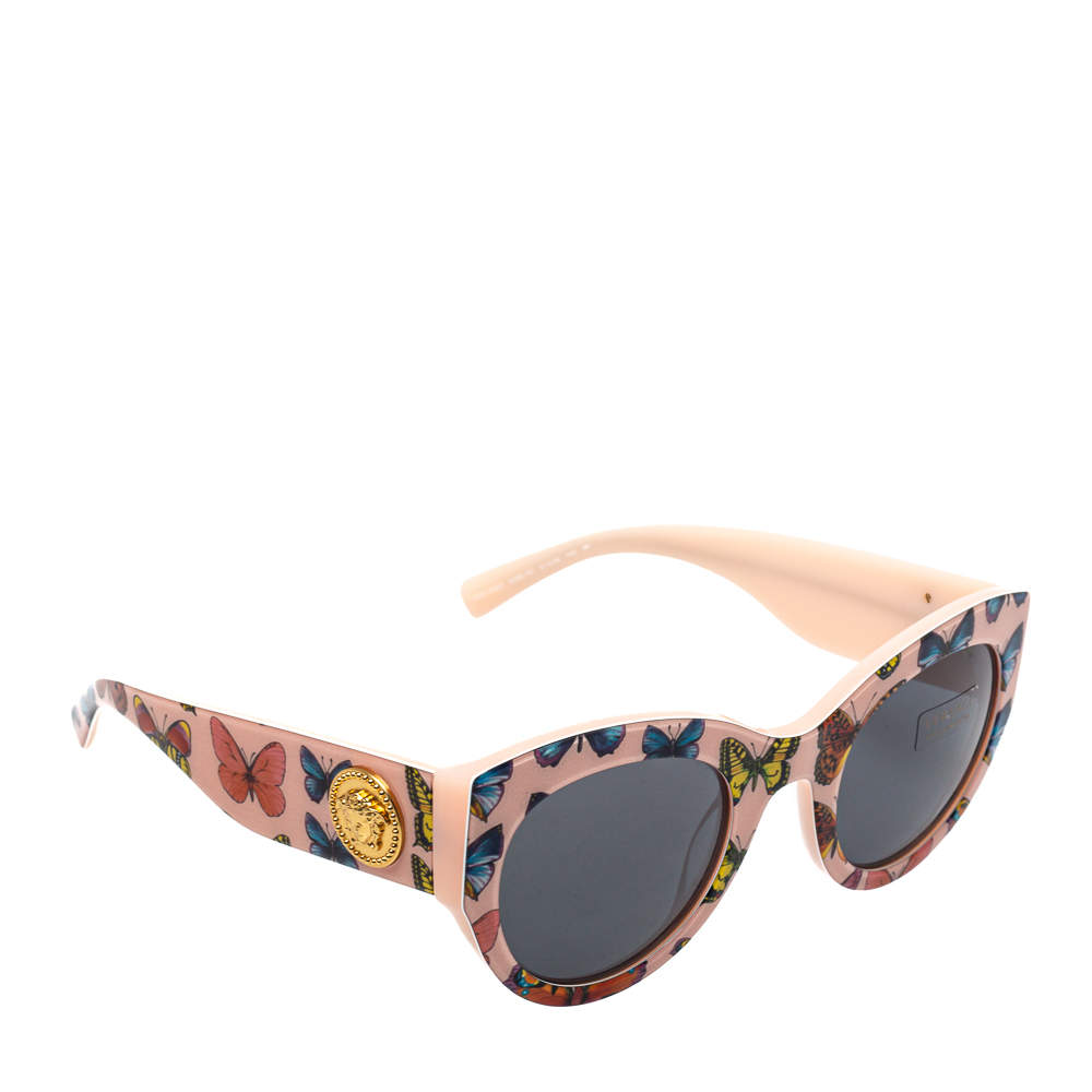 Versace Tribute Pink Butterfly Print/ Grey VE 4353 Cat Eye Sunglasses