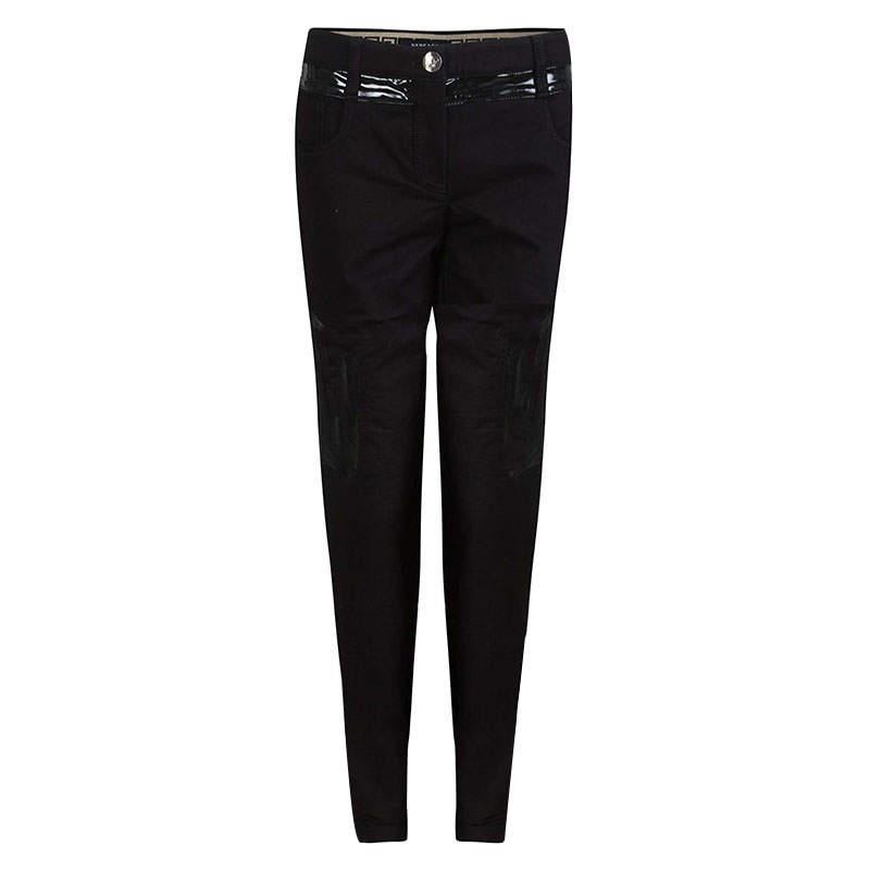 Versace Black Denim Contrast Panel Detail Straight Fit Jeans L