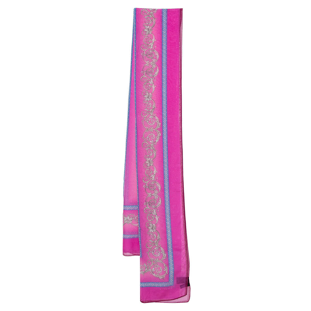 Versace Pink Baroque Print Silk Chiffon Stole