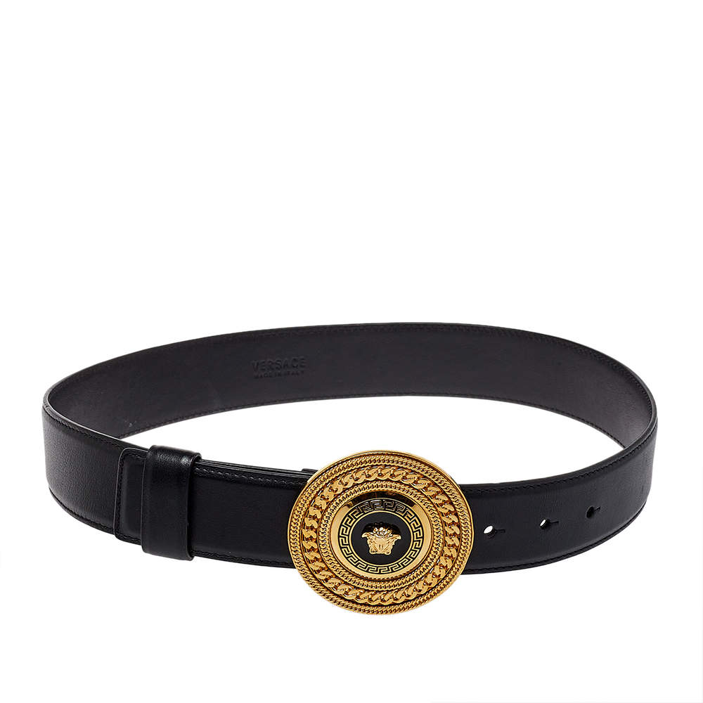 Versace Black Leather Medusa Belt 75CM
