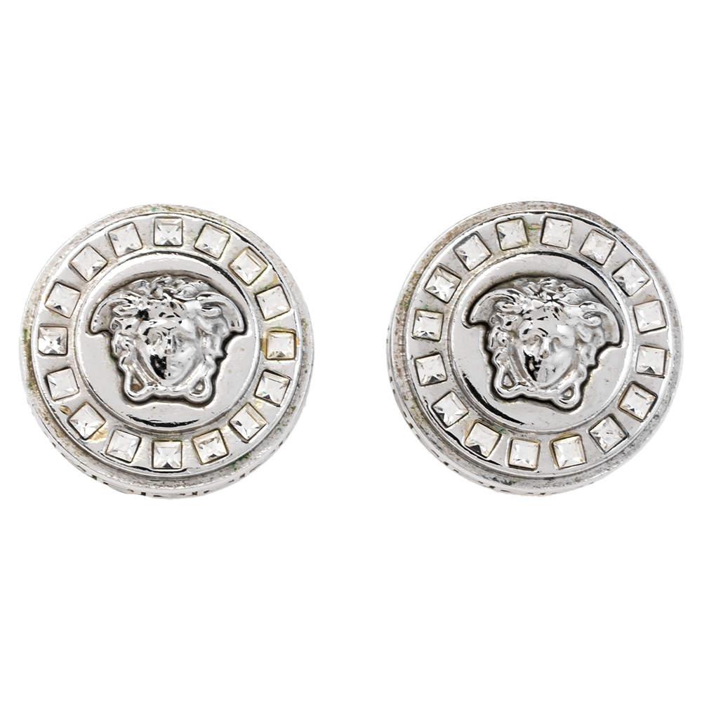Versace Medusa Crystal Silver Tone Stud Earrings