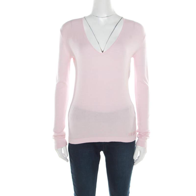 Versace Pink V-Neck Sweater M