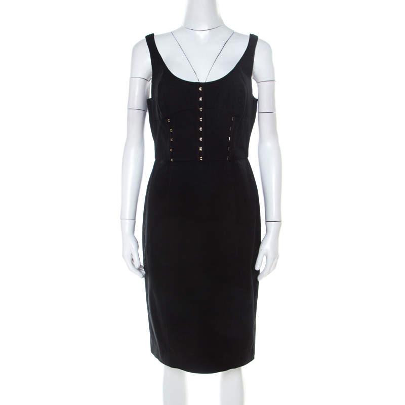 Versace Black Cotton Twill Corset Detail Pencil Dress M