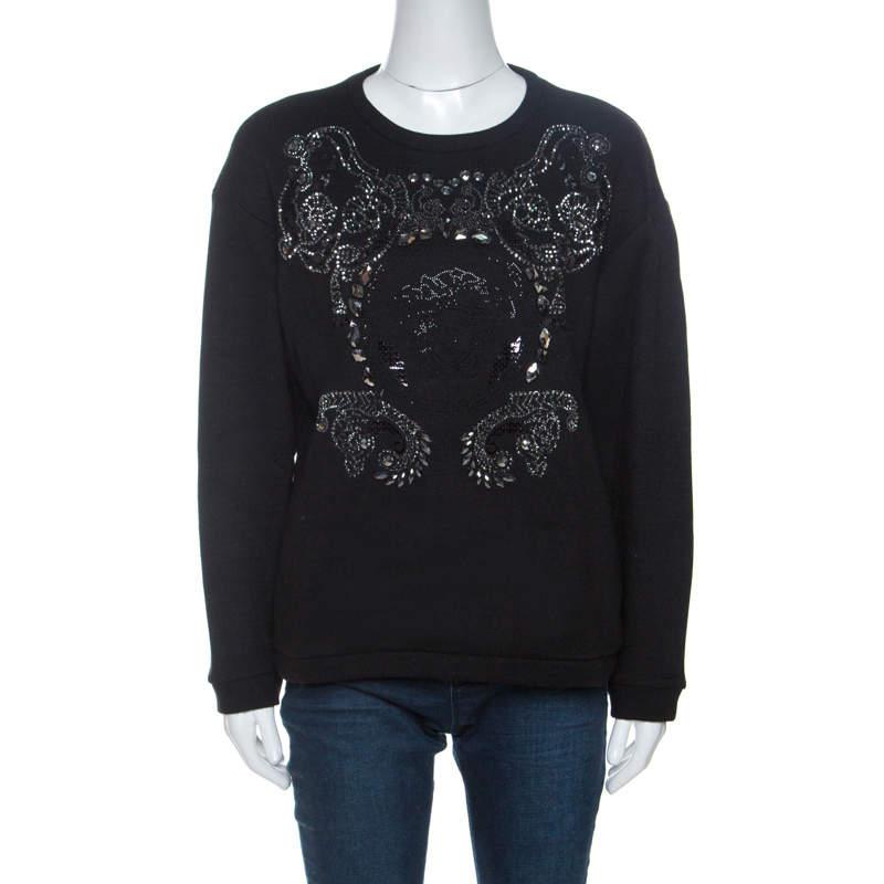 Versace Black Medusa Embellished Wool Sweatshirt M