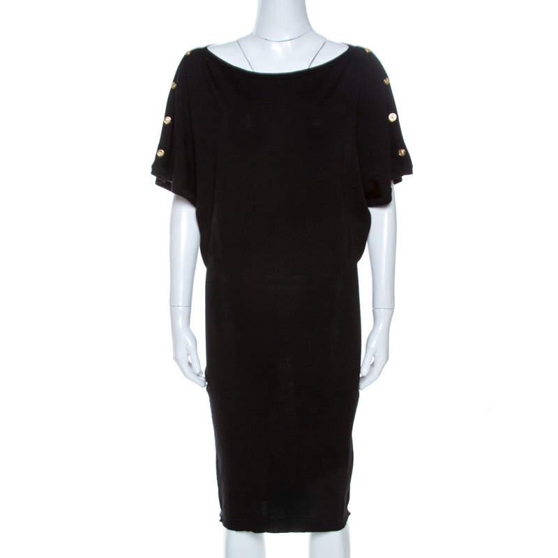 Versace Black Wool Sleeve Button Detail Sweater Dress M