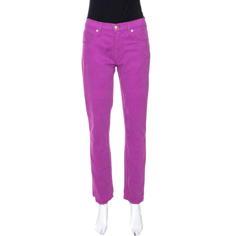 Versace Collection Purple Cotton Embroidered Pocket Detail Jeans M