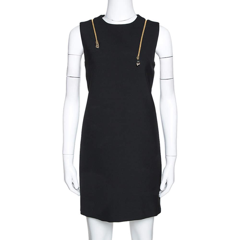 Versace Collection Black Knit Shoulder Zip Detail Sleeveless Dress M