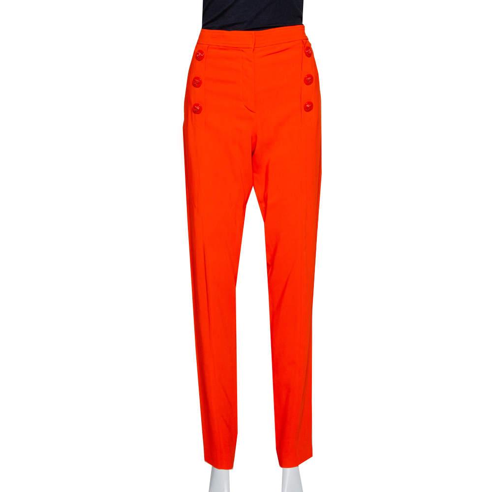 Versace Orange Crepe Medusa Button Detail Trousers L