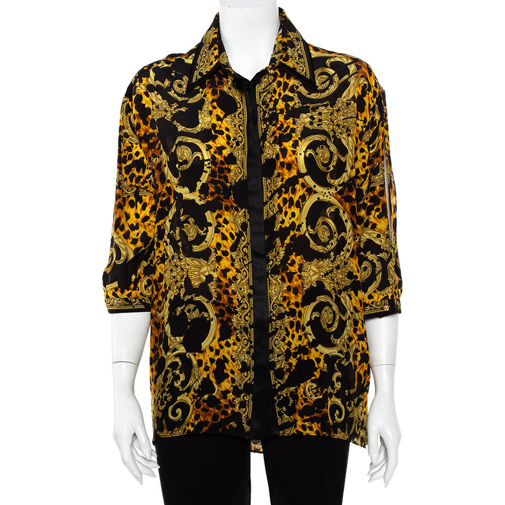 Versace Black & Yellow Printed Silk Double Collar Button Front Shirt L
