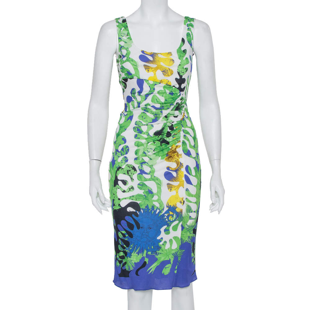 Versace Multicolor Knit Ruched Sleeveless Midi Dress M