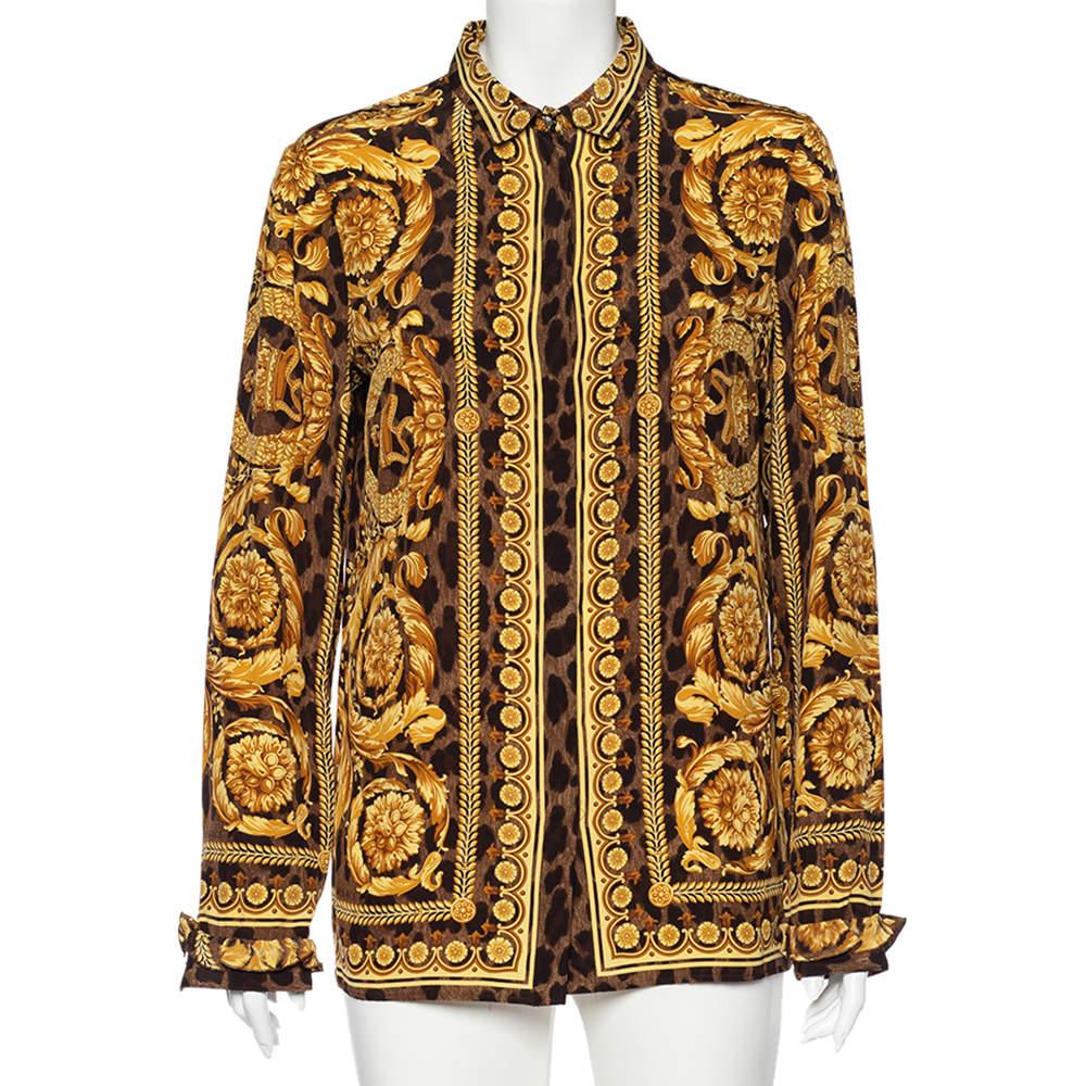 Versace Multicolor Baroque Printed Silk Button Front Shirt L