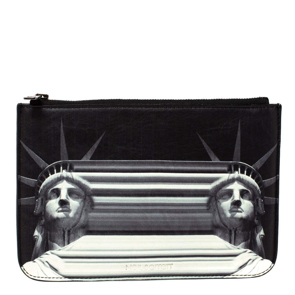 Versace Leather Black/White Leather Neil Barrett Pouch