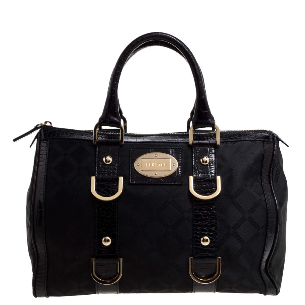 Versace Black Signature Fabric and Croc Embossed Leather Boston Bag