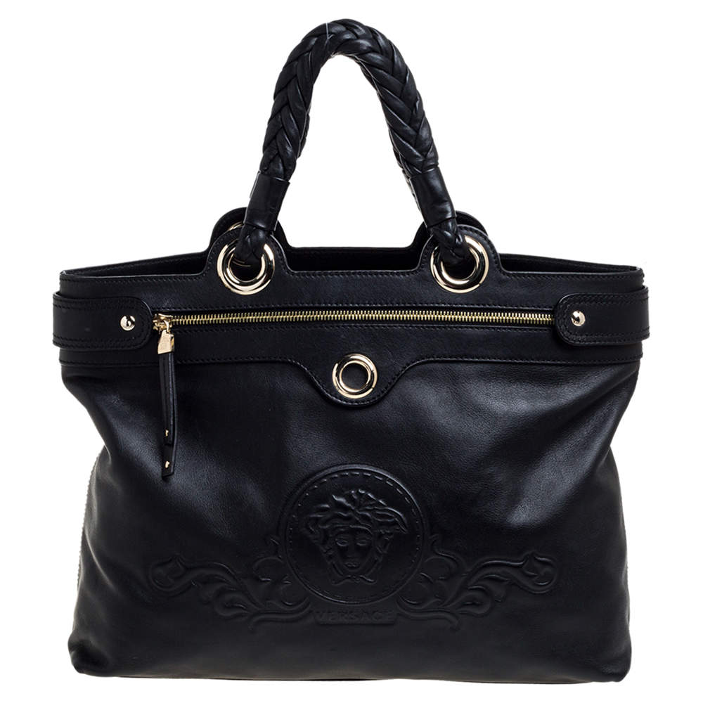 Versace Black Leather Tote