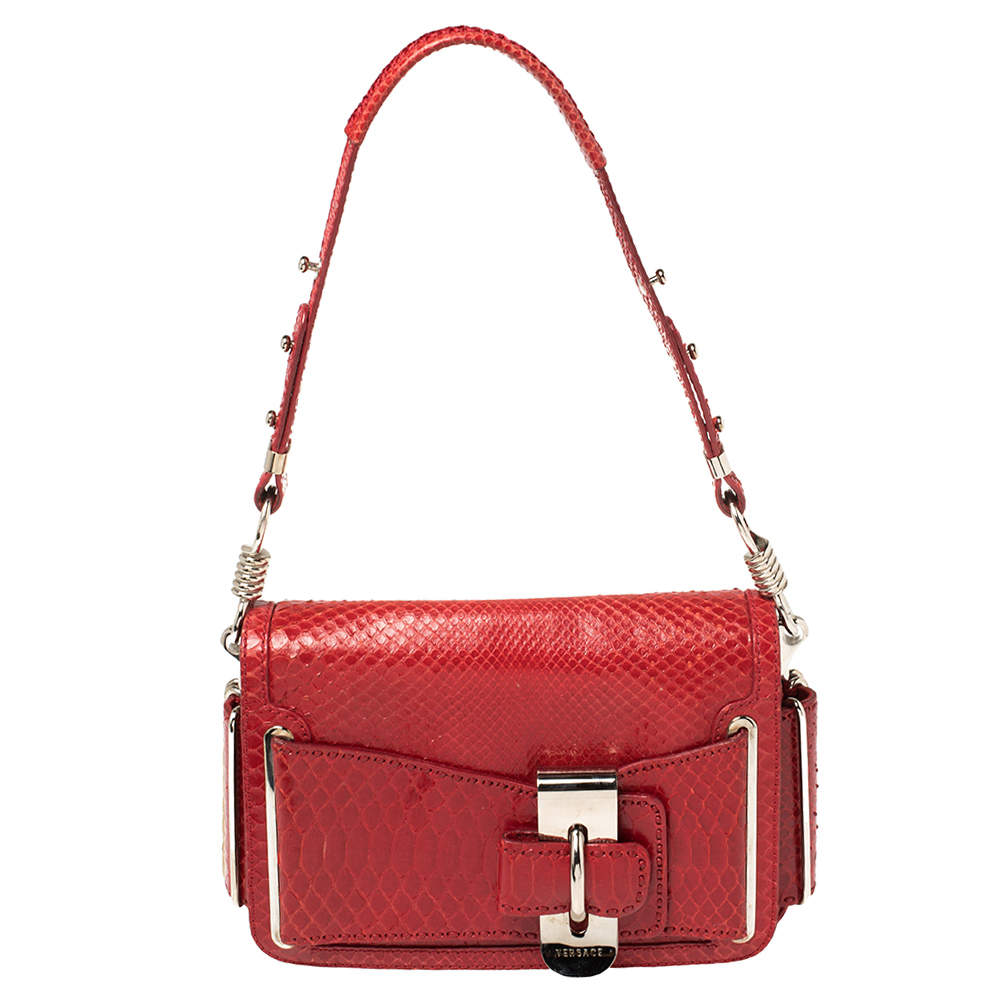 Versace Red Python and Suede Flap Shoulder Bag