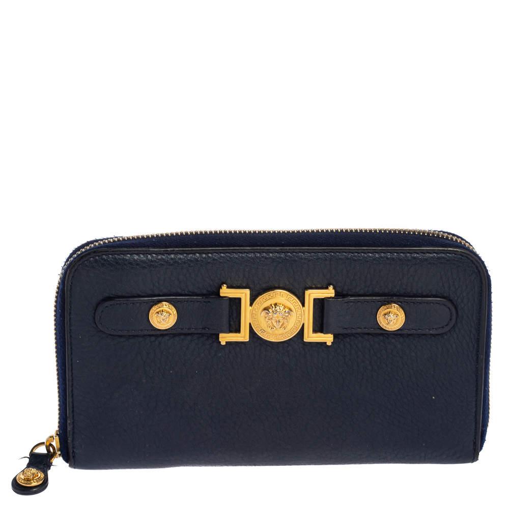 Versace Blue Leather Medusa Zip Around Wallet