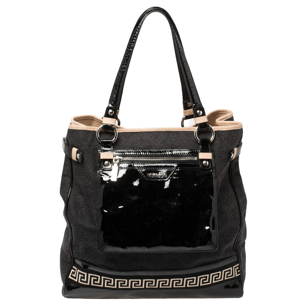 Versace Black Canvas and Patent Leather Tote