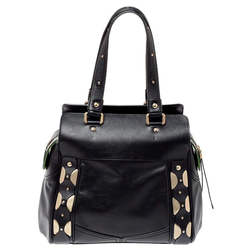 Versace Black Leather Studded Satchel