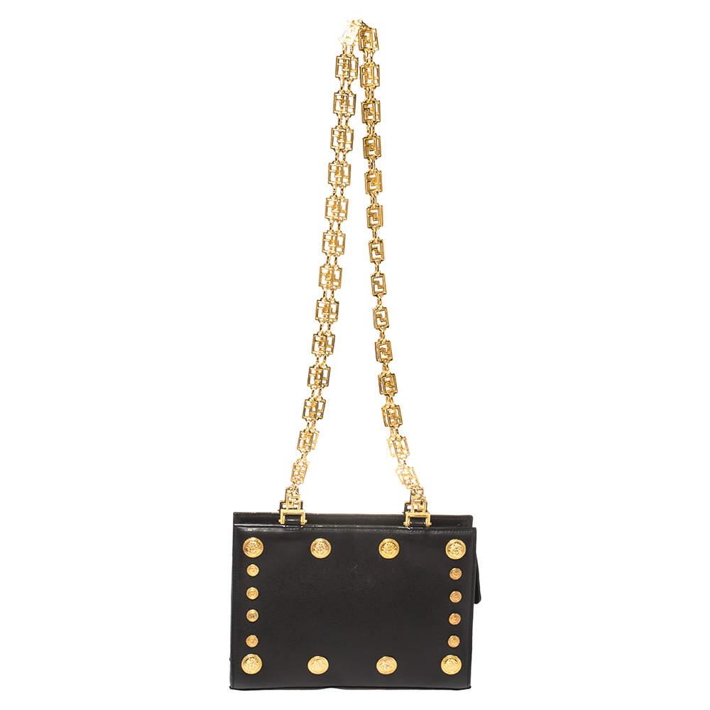 Versace Black Leather Medusa Studded Chain Shoulder Bag