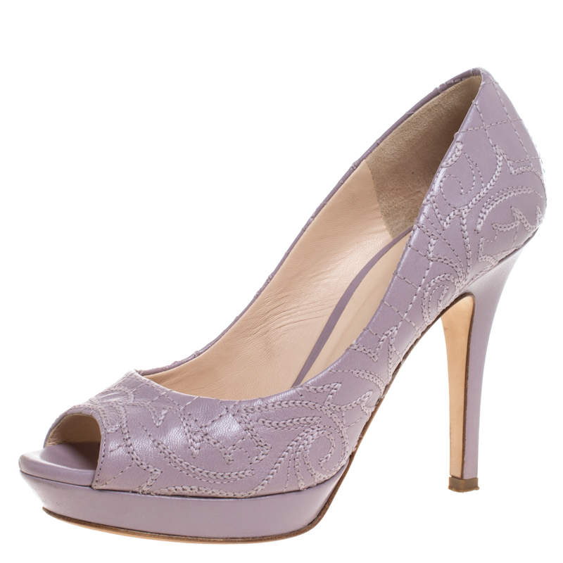 Versace Lilac Embroidered Leather Peep Toe Platform Pumps Size 38.5