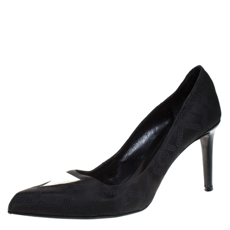 Versace Black Signature Canvas Pointed Toe Pumps Size 40