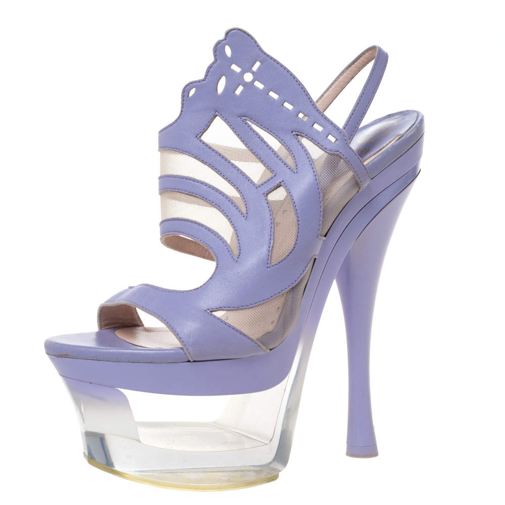 Versace Lilac Leather And Mesh Cut Out Lucite Platform Slingback Sandals Size 37