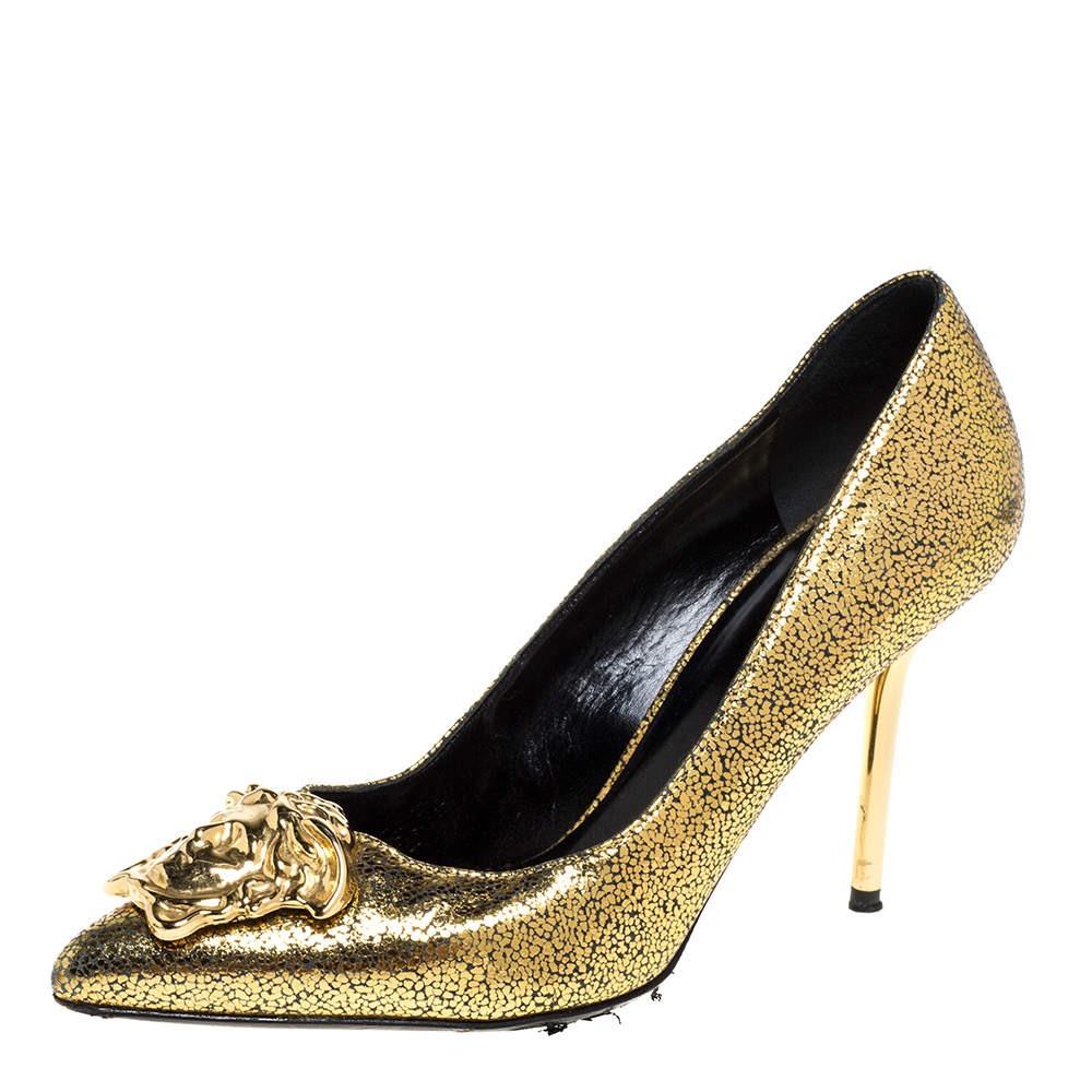 Versace Metallic Gold Textured Leather Medusa Pointed Toe Pumps Size 36