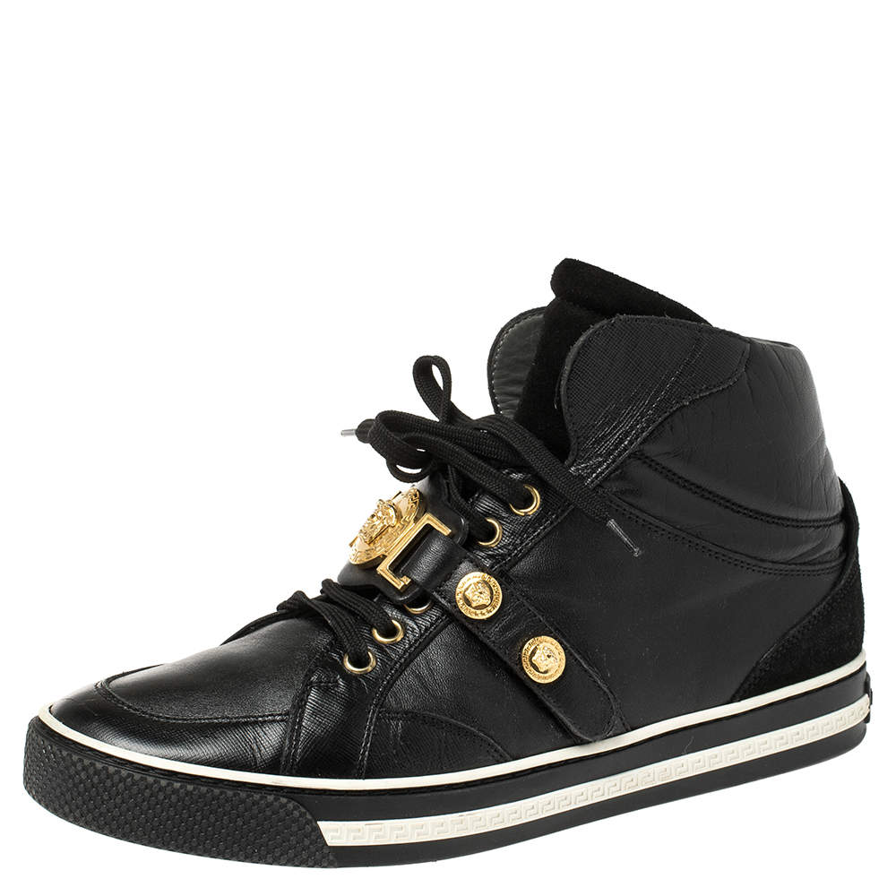 Versace Black Leather And Suede Medusa Strap High Top Sneakers Size 40