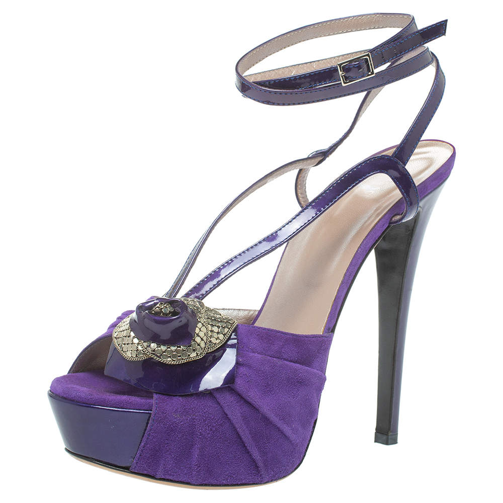 Versace Purple Suede And Patent Leather Floral Metal Mesh Platform Sandals Size 39