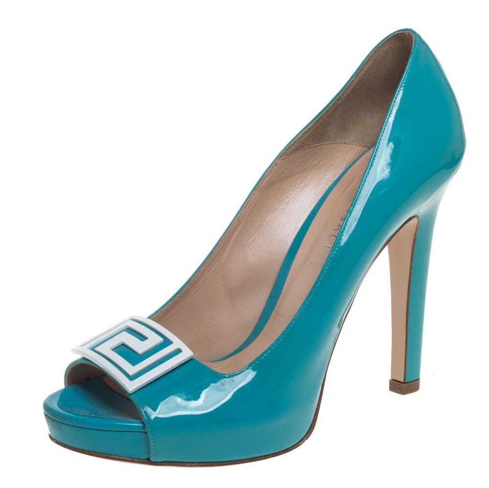 Versace Sky Blue Patent Leather Slip On Peep Toe Platform Pumps Size 41