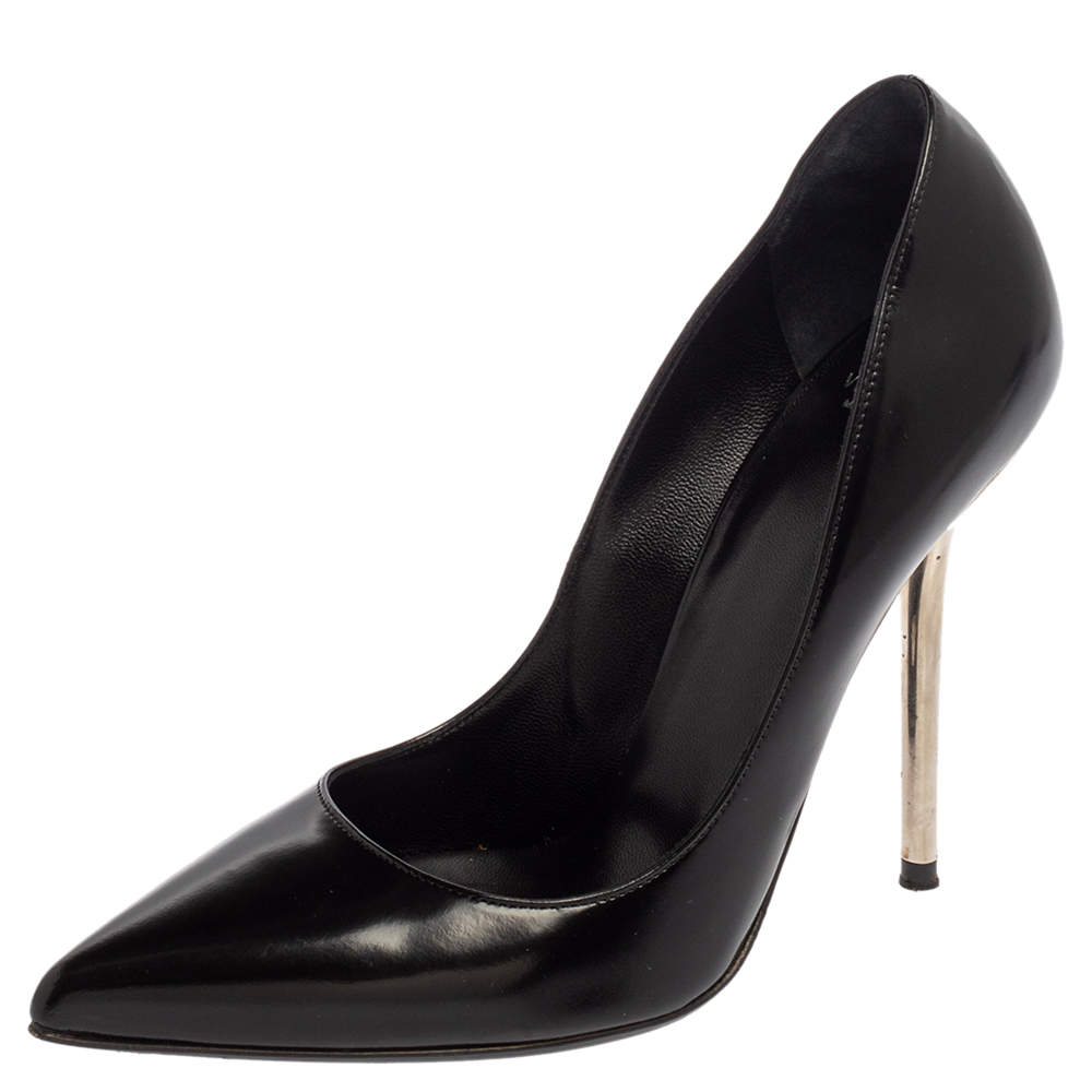 Versace Black Leather Pointed Toe Pumps Size 35.5