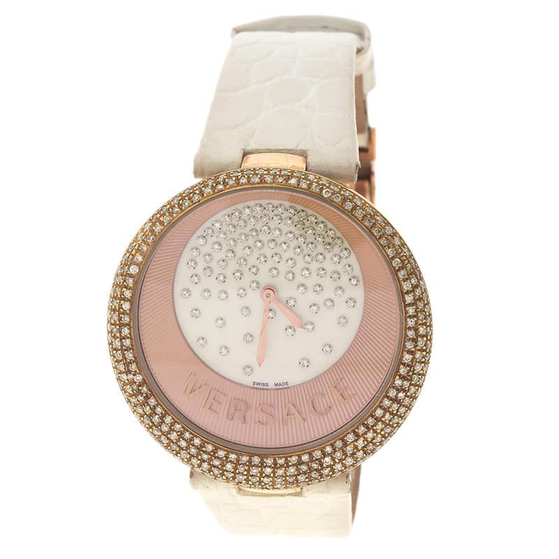 Versace Cream Rose Gold Plated Steel Perpetuelle 87Q Women's  Wristwatch 40 mm
