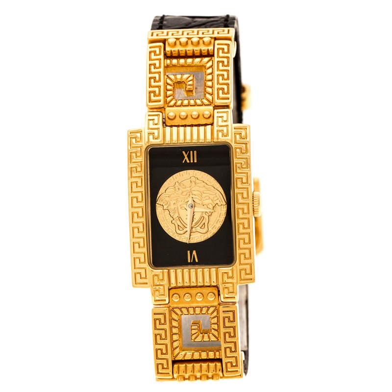 Gianni Versace Black Gold Plated Signature Medusa 7009017 Women's Wristwatch 20 mm
