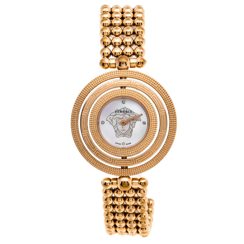 Versace Mother of Pearl Rose Gold Plated Stainless Steel Eon 80Q Women's Wristwatch 39 mm