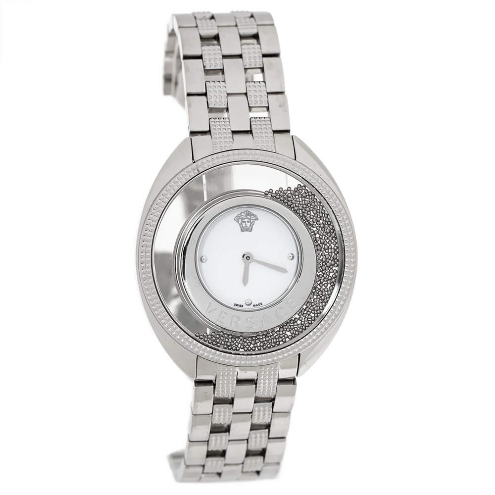 Versace White Stainless Steel Destiny Spirit 86Q Women's Wristwatch 39 mm
