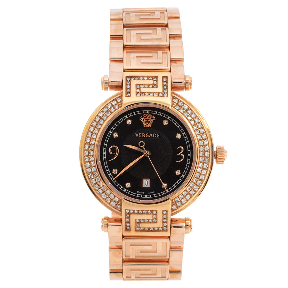 Versace Black Rose Gold Plated Stainless Steel Diamond Reve 68Q Women's Wristwatch 35 mm